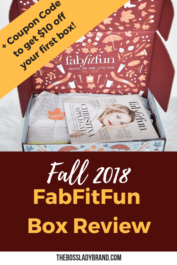 The fall Fabfitfun box is here! I am bringing you a review and a fabfitfun coupon code to help you save money! These boxes are always so fun! #fabfitfun #fabfitfunfall2018 #fabfitfunwinter2019